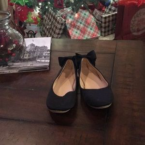 🎄CrewCuts Black Flats with bow, size 2